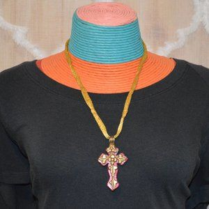 """Jewelry - 12"""" Long Pink Cross Golden-Color Mesh Necklace"""